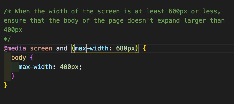 media screen with body width styled