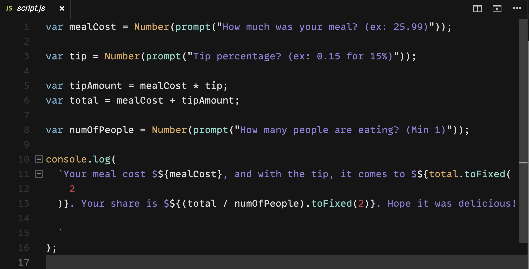 Skillcrush Tip Calculator in JavaScript on CodeSandbox