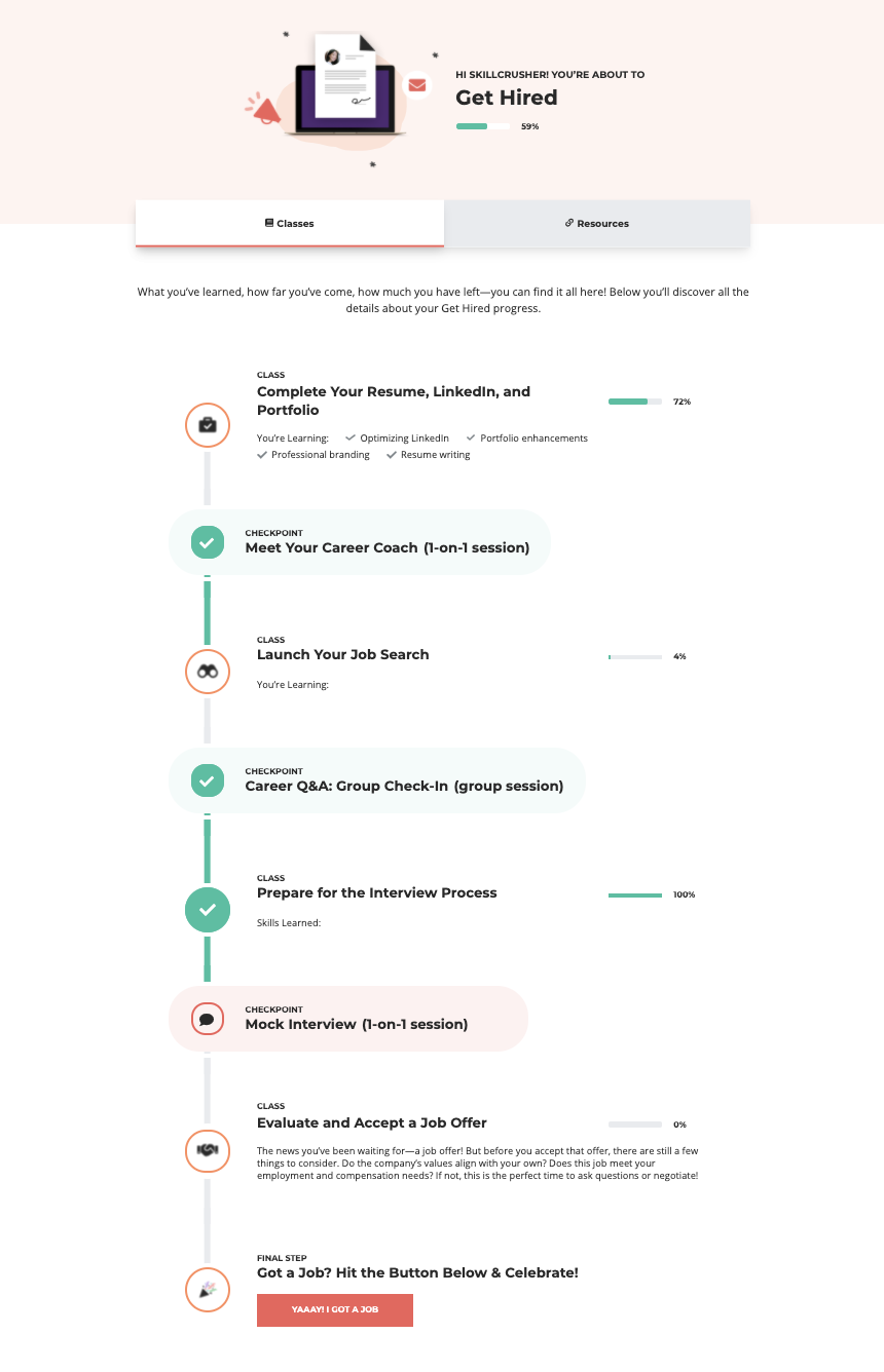 Get Hired Track dashboard