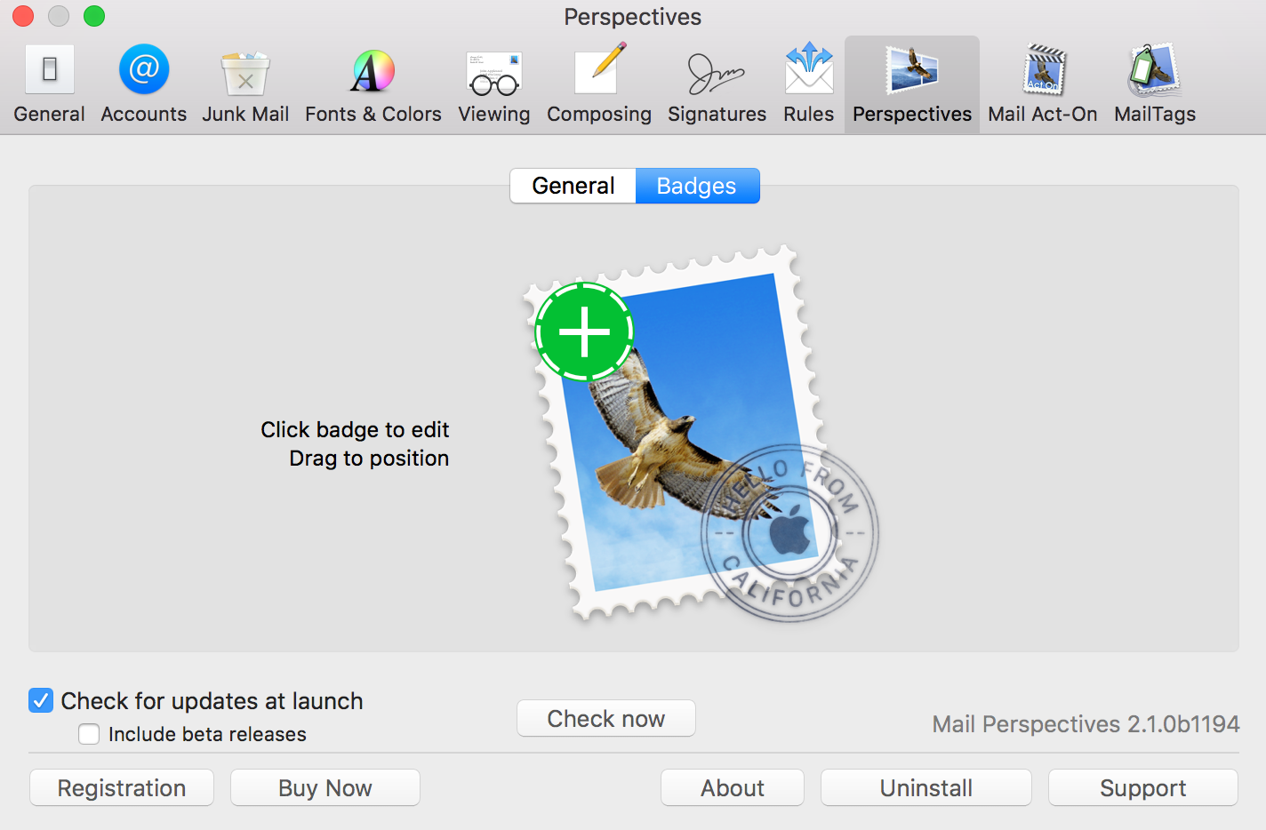 "alt ""Creating a Badge on a Mail Perspectives Window"""