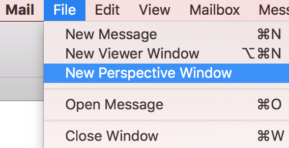 Creating a Mail Perspectives window