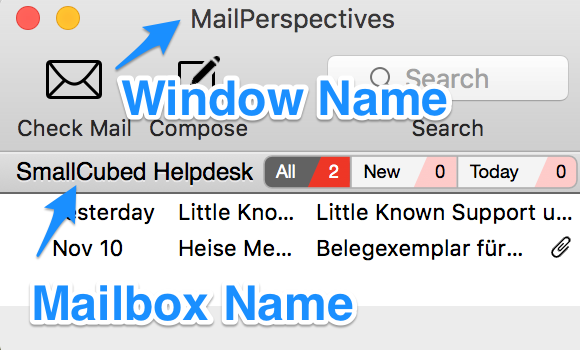 View of a Mail Perspectives window