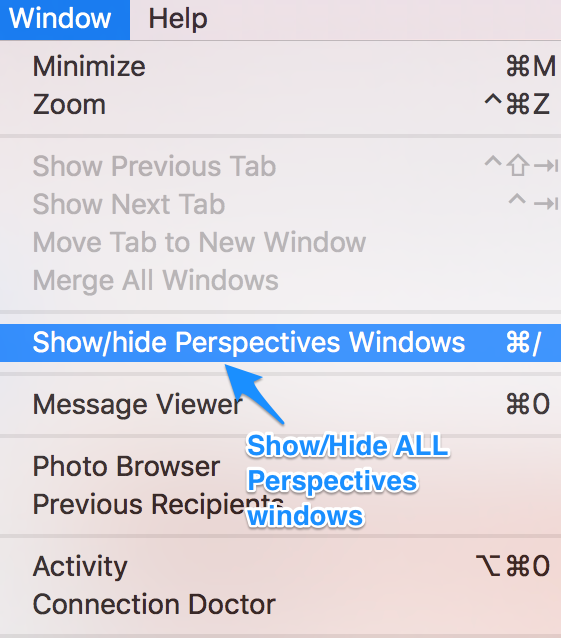 "alt ""Mail's menu Windows/Show/hide Perspectives windows"""