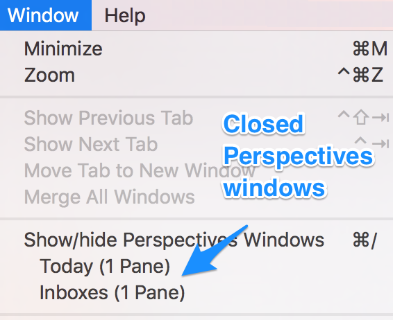 "alt ""Mail's menu Windows/Show closed Perspectives windows"""