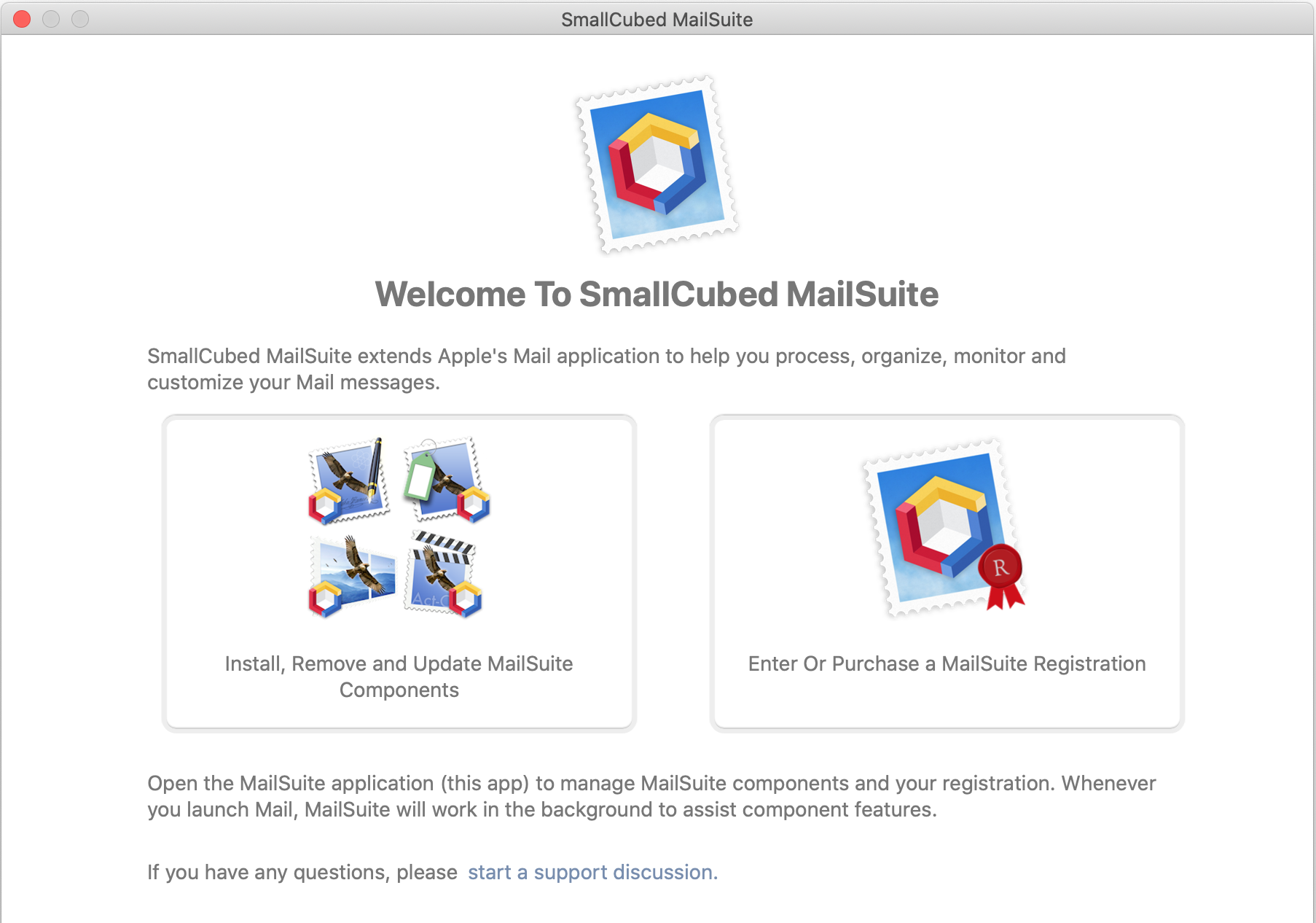 MailSuite welcome screen