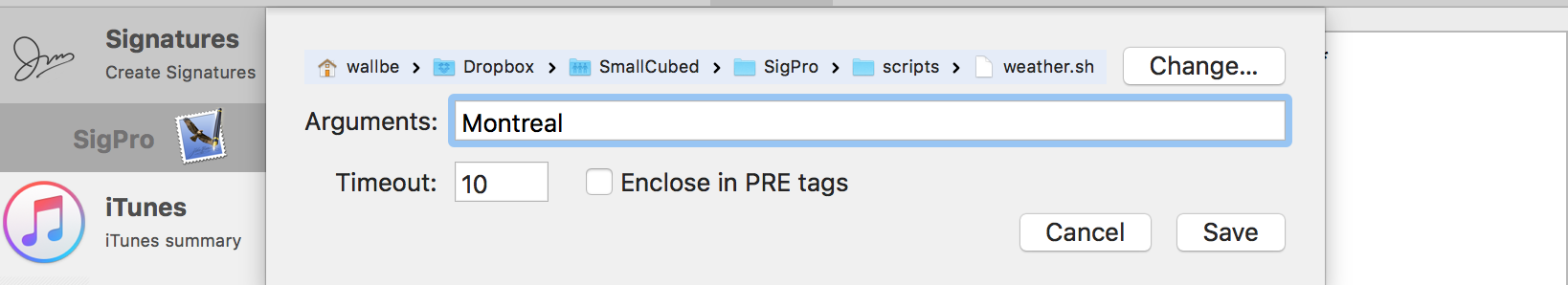 "alt ""Enter Arguments and set 'pre' tags"""