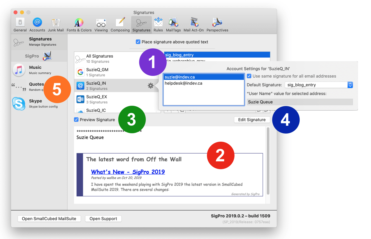 The Signature preferences of Mail with SigPro Installed