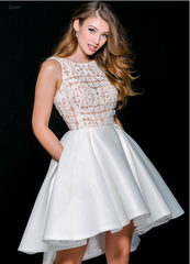 White Sleeveless Fit and Flare Dress