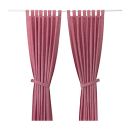 Lenda curtains with tie backs pair red  0374788 pe553762 s4