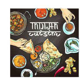 Hand drawn indian food elements vector 04
