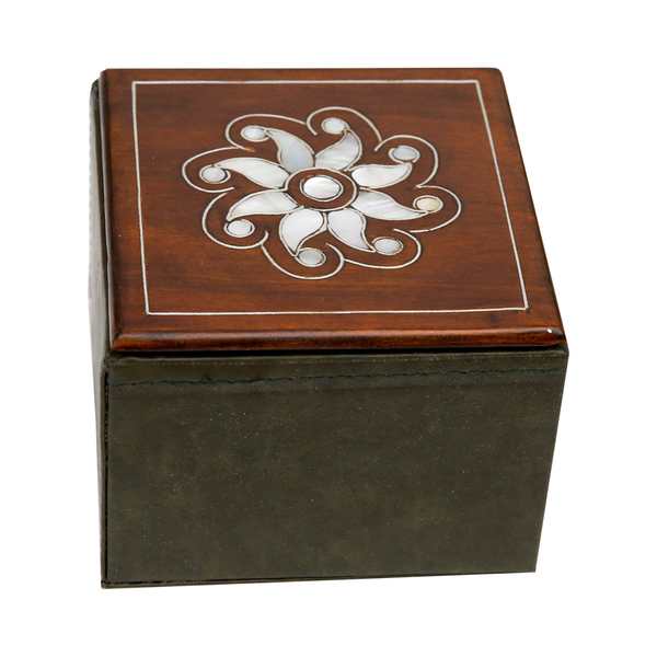Wood, Leather, and Pearl Box