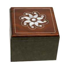Wood  leather  and pearl box