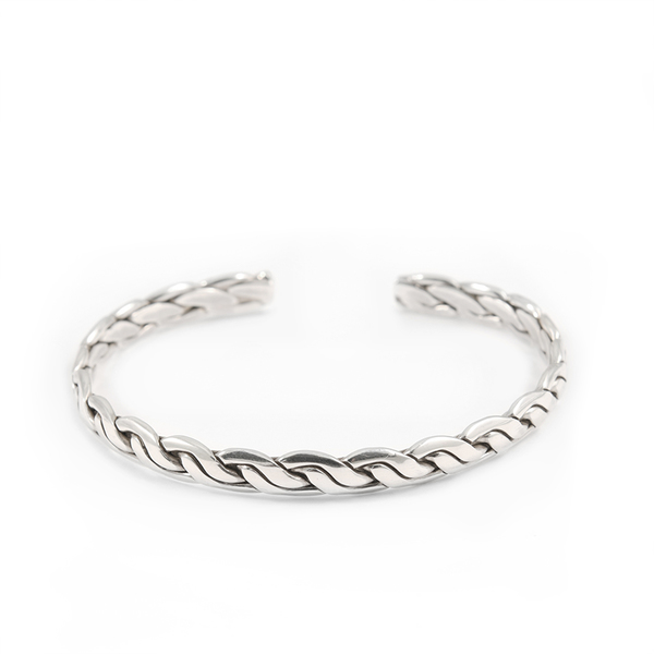 Item Sold Out                                                  Slim Braided Sterling Silver Cuff  Bracelet
