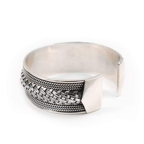 Hand Stamped Weaved Sterling Silver Cuff Bracelet