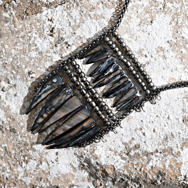 Mother Of Pearl Spiky Shell Sticks Necklace