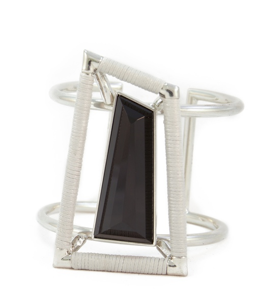 Black Onyx & grey leather hand cuff