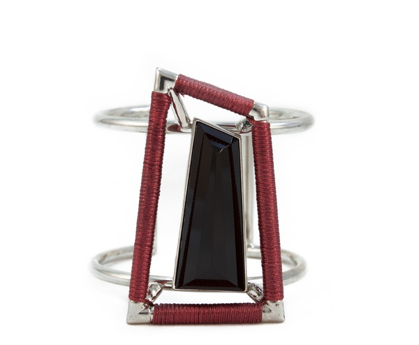 black onyx & red leather hand cuff