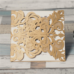 Gorgeous Lace Pocket Laser Cut Wedding Invitation Card WPL0002