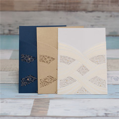Luxurious Wedding Invitation Card With Laser Cut Pearl Pattern WPL0003