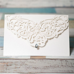 Elegent White Diamond Laser Cut Wholesale Invitations WPL0018