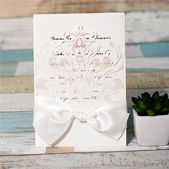 Ivory Laser Cut Wedding Invitation Card With Bow WPL0025
