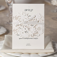 White Laser Cut Luxurious Wedding Invitation Cards WPL0027