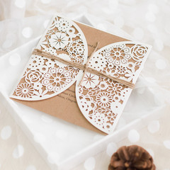 Rustic Laser Cut Pocket Wedding Invitation With Twines WPL0080