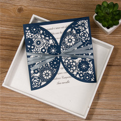Romantic Floral Laser Cut Wedding Invitation Card With Ribbon WPL0082
