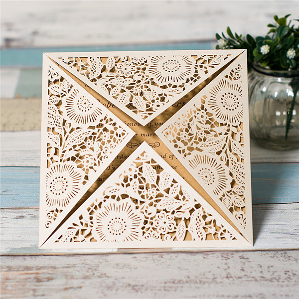 White Floral Laser Cut Wedding Invitations WPL0015