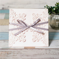 Grey Ribbon Laser Cut Ideal Products Wedding Cards WPL0008
