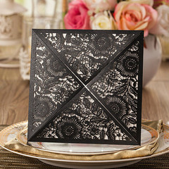 Charming Black Floral Laser Cut Wedding Invitations WPL0013