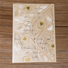Peacock Feather Gold Laser Cut Invitations WPL0016