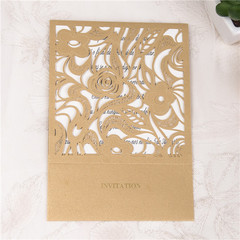 Delicate Purple Floral Laser Cut Pocket Wedding Invitations WPL0017