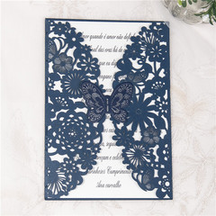 Luxurious White Floral Laser Cut Wedding Invitation Cards WPL0073