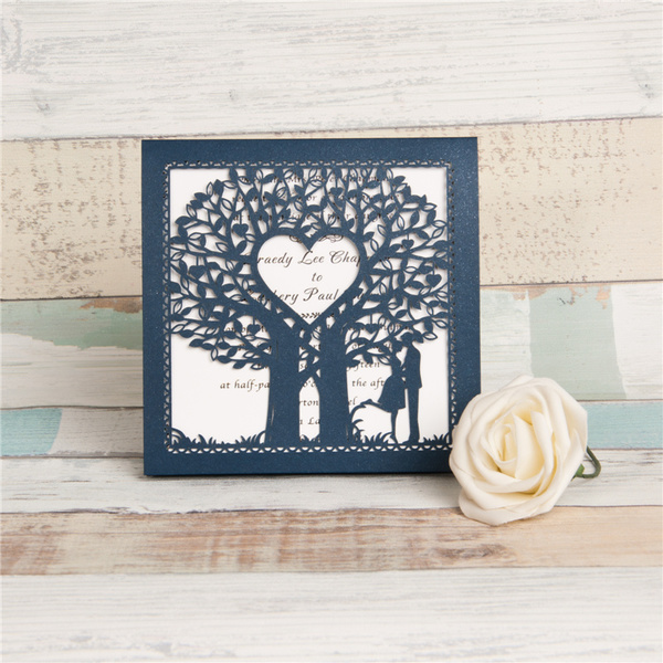 Fairytale Laser Cut Tree Wedding Invitation Card WZL0014