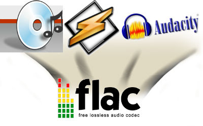 Audacity and WinAmp can be used to transcode audio to FLAC