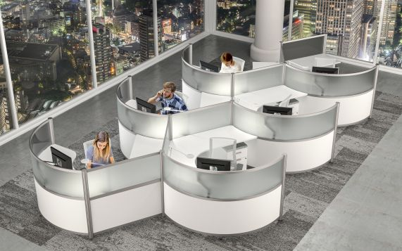 Modern Cubicles and Sit Stand Workstations representing the latest Office Design Trends in today's Modern Office Furniture world