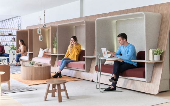 Office Phone Booths and Office Privacy Pods are popular Acoustic Furniture items being placed in today's Modern Workplaces