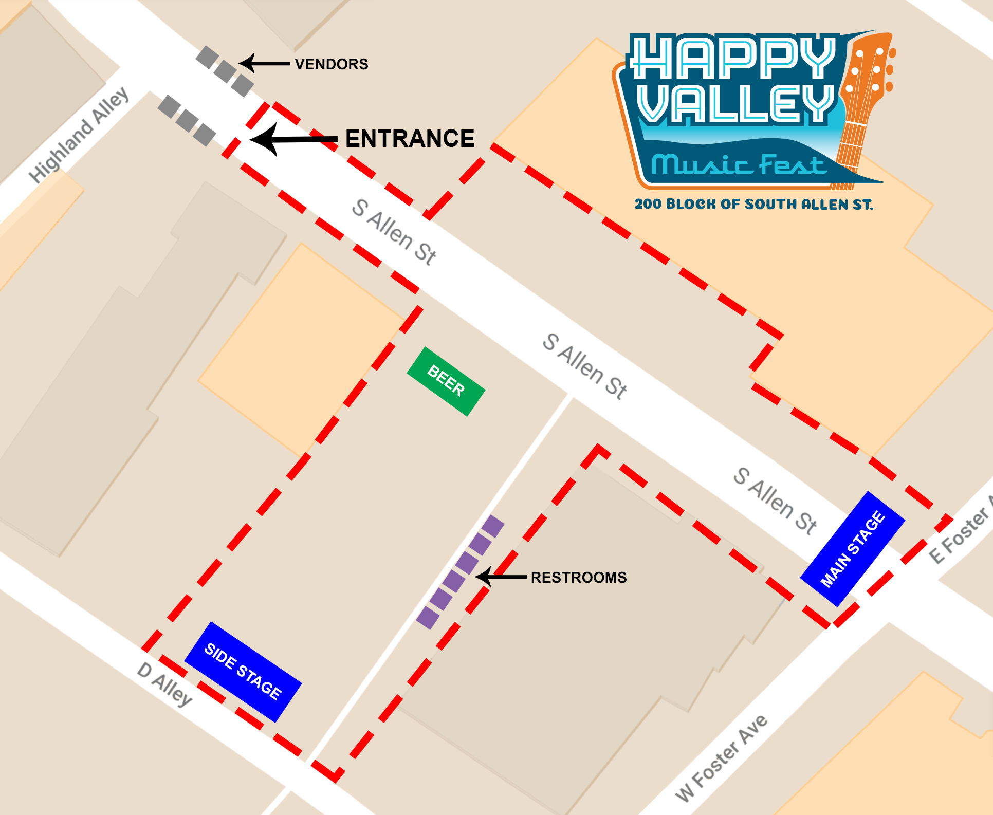 Festival Map - Happy Valley Music Fest on