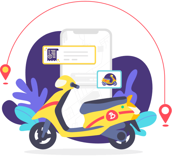 illustration pickanddrop - Developing a Motorcycle Taxi App: Learn how Gakoda became a Successful Bike Taxi Startup