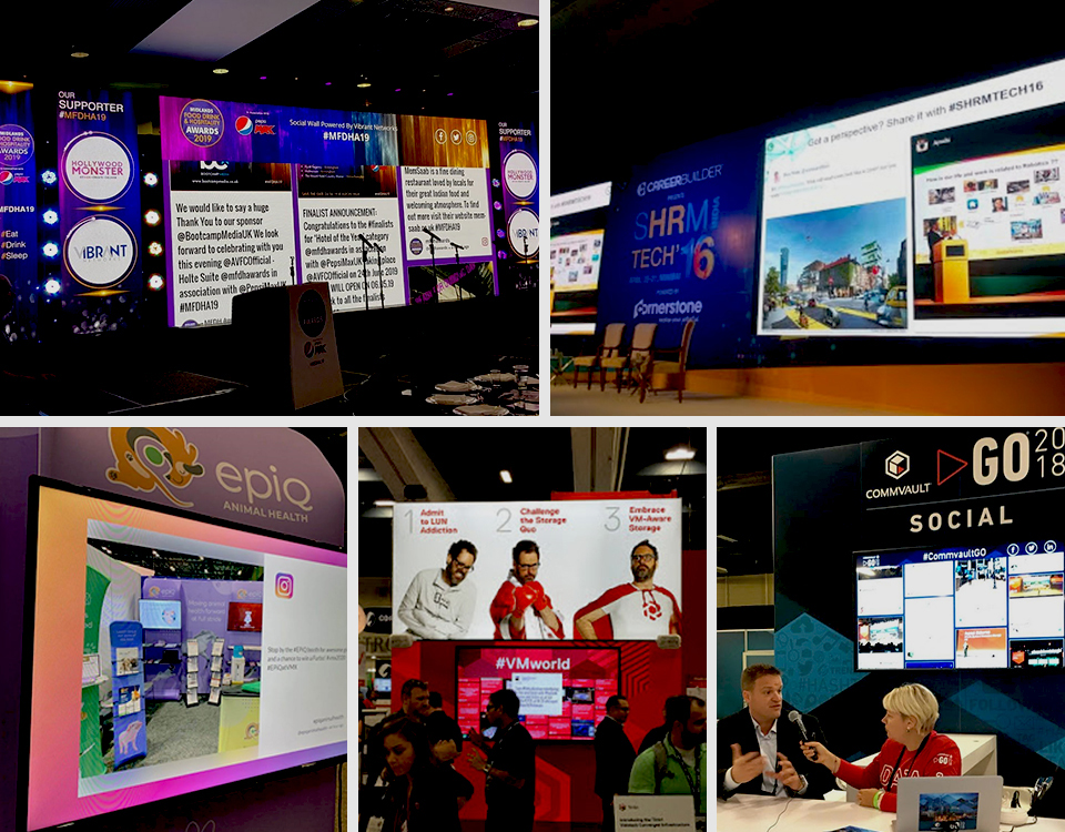 social media diaplay boards - Event Signage: Reasons and Ideas to Use Digital Signage in Events