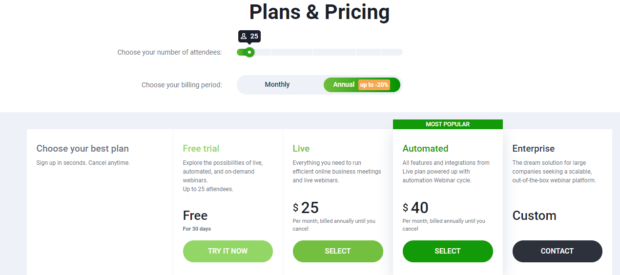Pricing ClickMeeting - 14 Best Webinar Software Tools in 2021 (Ultimate Guide for Free)