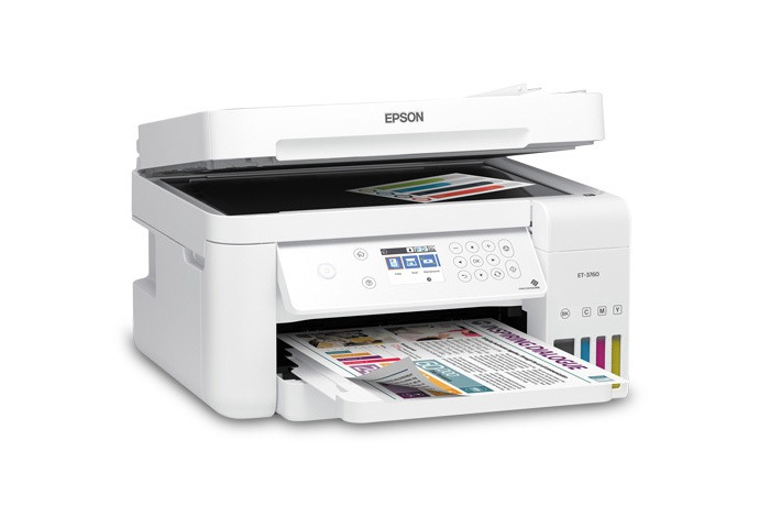 Epson EcoTank ET 3760 Wireless Color All in One Cartridge Free Supertank Printer with Scanner Copier ADF and Ethernet White - Top 7 Printer available in Market for Student and Office use