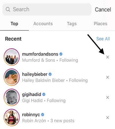 Search and cancel - How to clear your Instagram search history