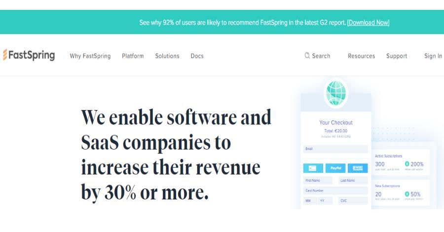 FastSpring - Best ecommerce platform in 2021