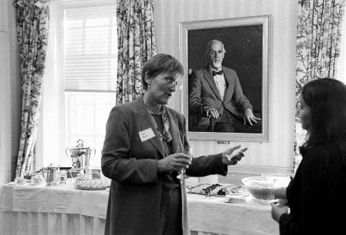 President Drew Faust meets with students at a reception during her time as Dean of Radcliffe.