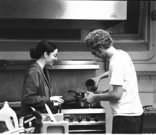 Harvard students prepare food at the University Lutheran Homeless Shelter which runs out of the basement of the Luther Church at 66 Winthrop Street. Last night marked the shelter's opening night for this winter.