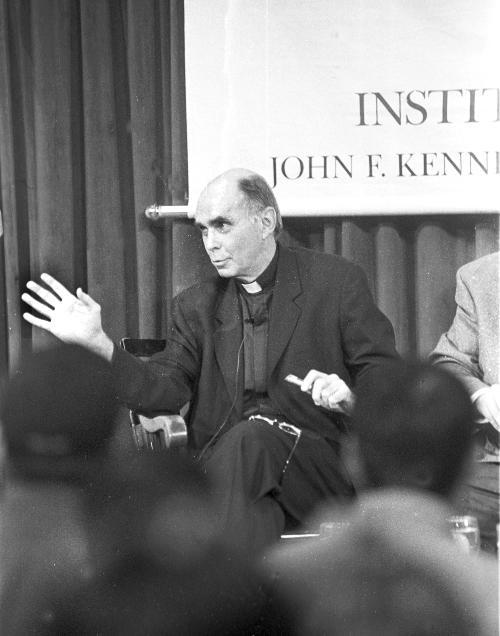 Father J. BRYAN HEHIR, former dean of Harvard Divinity School, discusses the war on Iraq with Christopher Hitchens, an author, at the Forum yesterday. Please see article page 3.