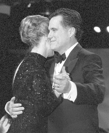 New Mass. Gov. W. MITT ROMNEY shares the first dance at his inauguration party with his wife ANN.