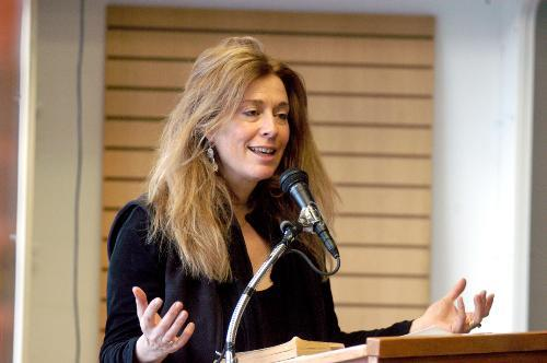 """Bolyston Professor of Rhetoric and Oratory JORIE GRAHAM read s at Wordsworth Bookstore yesterday afternoon as part of a series of """"Poets Against the War"""" yesterday."""